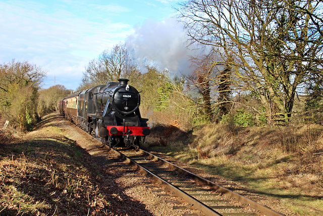 LMS class 8F no 48624 departs Rothley