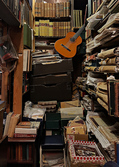 Guitar in a bookshop