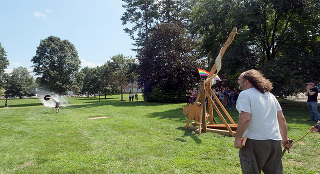 The trebuchet is fired, with effect