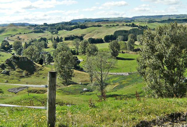 Looking down on farmland