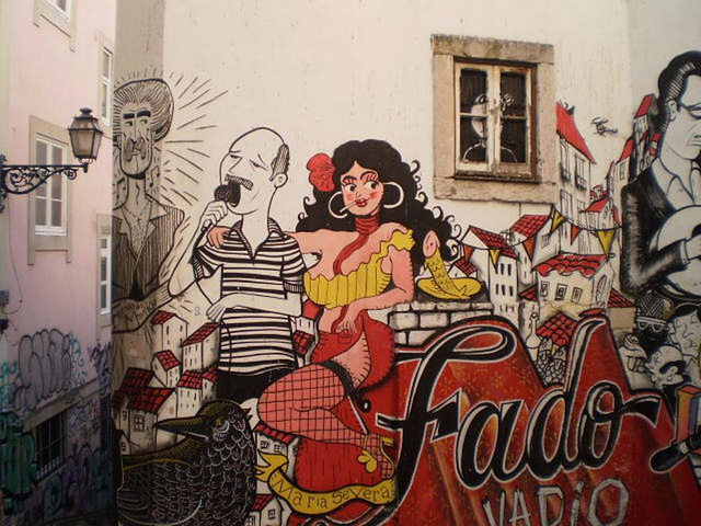 Street art at Alfama, Lisbon - stray fado.