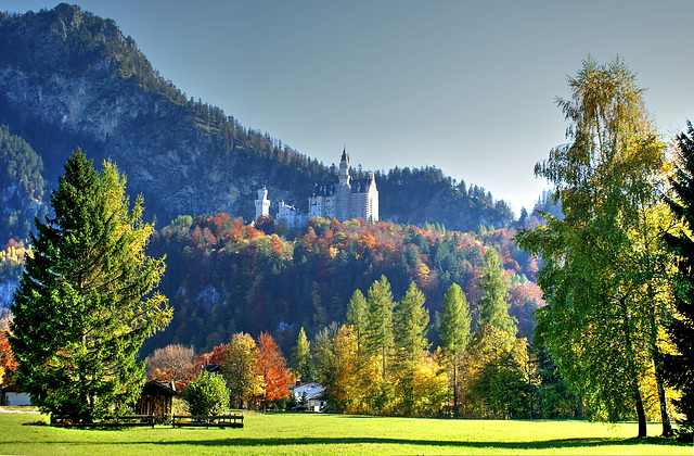 Castle Neuschwanstein in Autumn. ©UdoSm