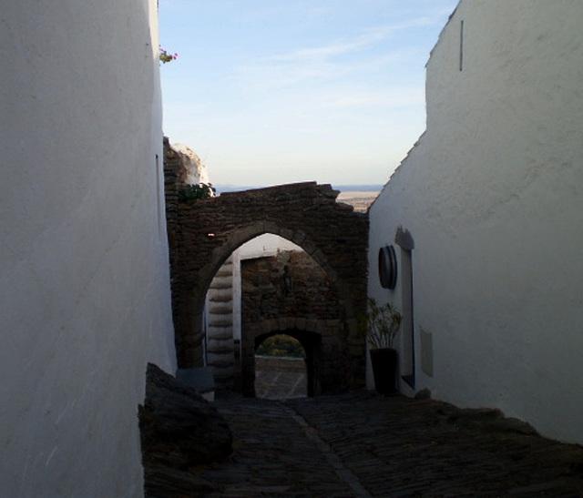 Village pebbled street.