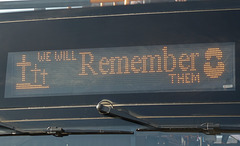 Remembrance message on Stagecoach East (Cambus) 10792 (SN66 VZP) - 6 Nov 2019 (P1050037)