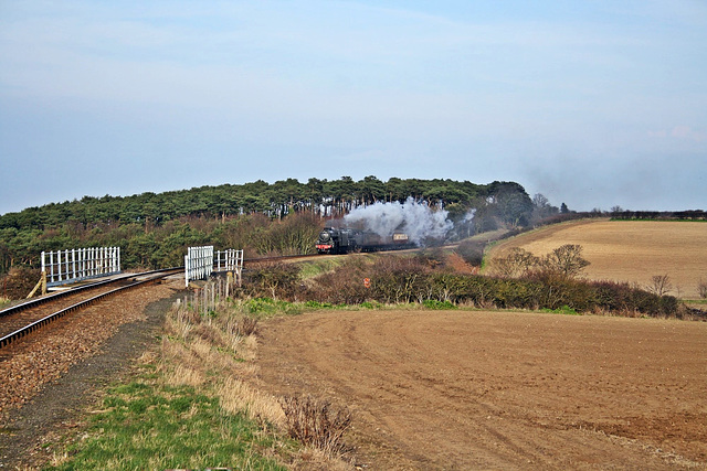 """LMS Stanier class 5T no 45337 and BR 9F no 92203 """" Black Prince """" double head to weybourne  ( and a gentleman in an Orange jacket takes a photo )"""