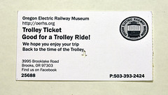 Ticket for the trolley of the Oregon Electric Railway Museum