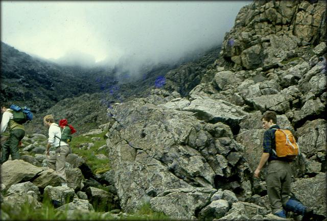 Walking up to the ridge. Black Cuillins, Skye