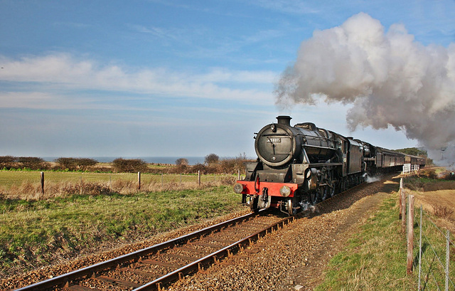 """LMS Stanier class 5T no 45337 and BR 9F no 92203 """" Black Prince """" double head to weybourne"""