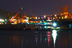 View of DSME shipyard at night