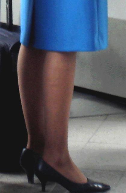 Blonde KLM Goddess in high heels