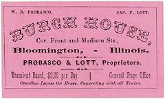 W. B. Probasco and James P. Lott, Burch House, Bloomington, Illinois, ca. 1869