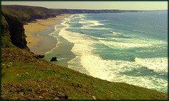 The sands at Chapel Porth and Porthtowan from the path leading from Wheal Coates tin mine to Tubby's Head, for Pam