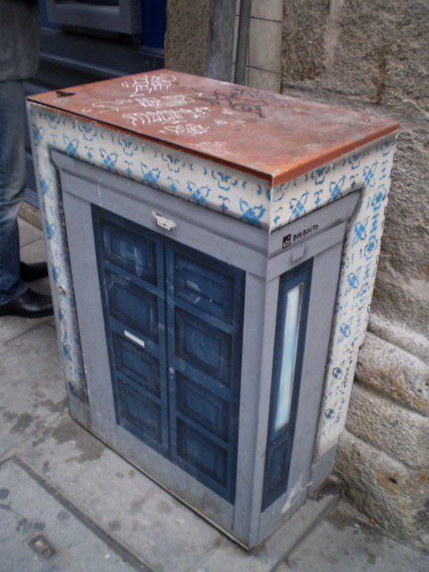 Electricity box with peculiar doors.