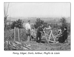 Percy Doris Edgar Arthur Phyllis & Lizzie  - digging a well perhaps - at least some of them are.