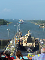 Ship Ahead is Leaving the Gatun Locks, Heading for the Caribbean