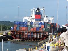 Container Ship in Gatun Locks