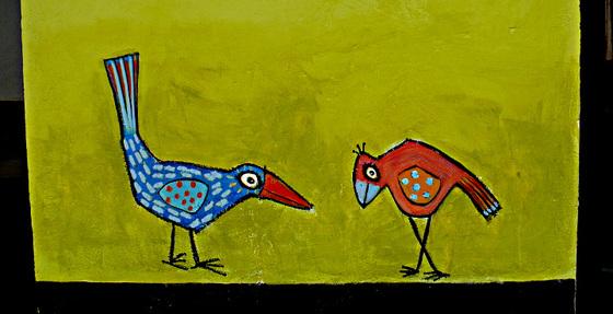 Bird conversation on the wall