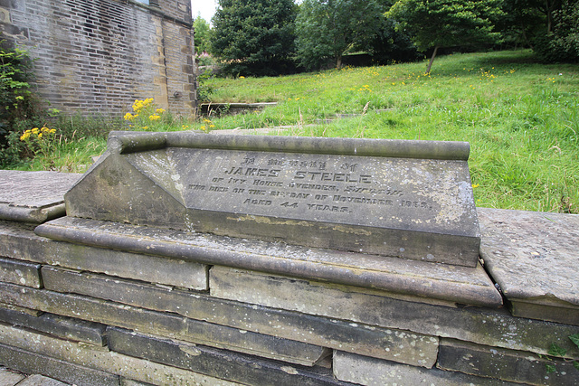 Memorial to James Steele of Ivy House Ovenden, Illingworth Churchyard, West Yorkshire