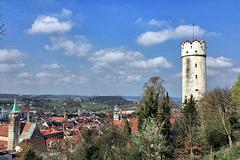 Blick auf den Mehlsack und die Dächer von Ravensburg