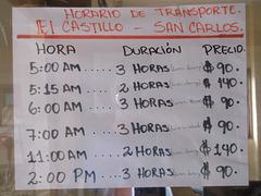 Horaire de transport El Castillo - San Carlos