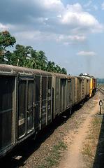 Güterzug in Thailand auf der Strecke Penang-Bankok 1981