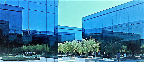 Blue forms and reflections. H. A. N. W. E. everyone!