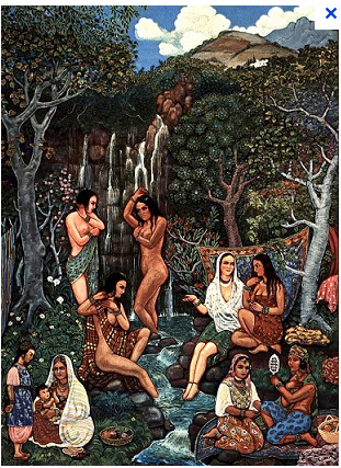 Femmes à la Cascade, par Mohamed Râcim
