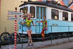 465 (220)..austria loweraustria ..baden...old tram..with bodypaint models