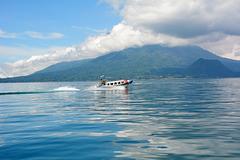 Guatemala, Lake Atitlan and Atitlan Volcano in Clouds