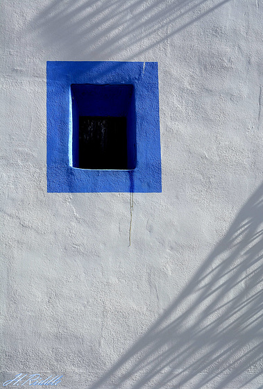 Blue in white window