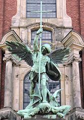 Archangel Michael  Defeats Satan with a Cross-shaped Lance