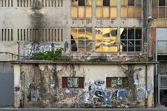 industrial evening facade