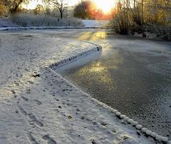 Snow ice sunset