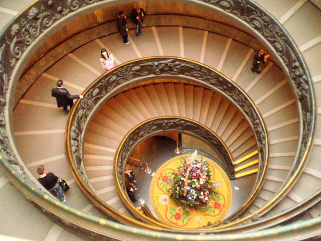 Double spiral staircase.