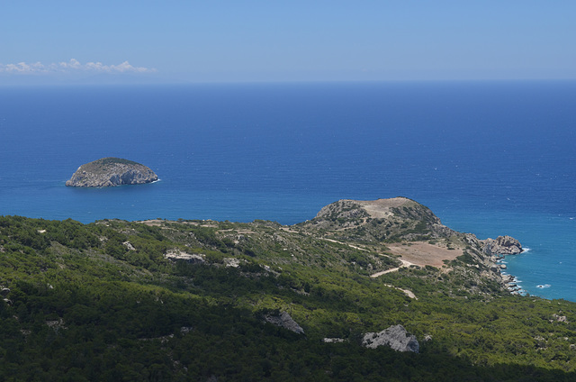 Rhodes, Overlooking the Aegean Sea and Stroggylo Islet from the Monolithos Castle