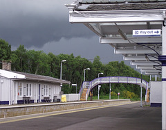 Dingwall footbridge, with weather.