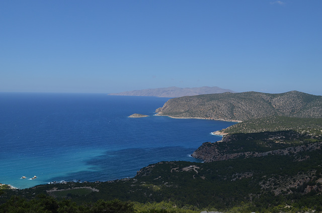 Rhodes, Overlooking the Armenistis Сape, Aghios Georgios Islet and Chalki Island on the Horizon from the Monolithos Castle