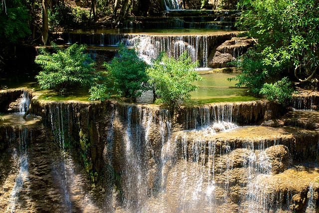 Huay Maekhamin waterfall in the mountains above Srinakarin lake in Kanchanaburi province, Thailand
