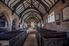 Shotwick church interior with stalls.