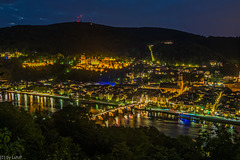 Blue Hour in Heidelberg - Old City and Castle (150°)