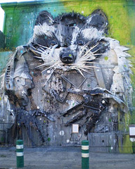 """Guaxinão"" (big raccoon), by Bordalo II."