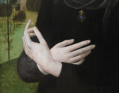 Detail of the Portrait of a Young Woman by Lorenzo di Credi in the Metropolitan Museum of Art, Sept. 2021