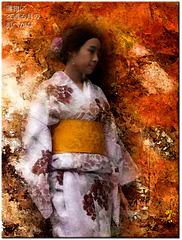 à travers le kimono léger la lune effleure la peau nue