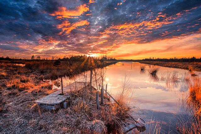 Sonnenuntergang wie aus dem Bilderbuch  Hahnenmoor Emsland