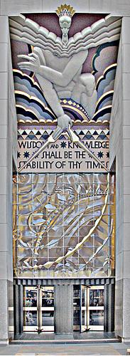 Planned redesign of the entrance of the former Rockefeller Center based on Artwork by Lee Lawrie based on artwork by William Blake