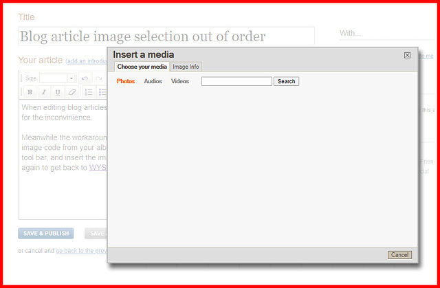 Blog article 'Insert a media' out of order