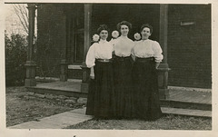 RPPC: 3 matching ladies with flowers