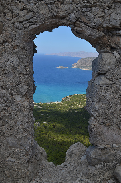 Rhodes, The Monolithos Castle, Looking through the Embrasure on the Armenistis Cape