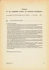 Vereidigung als Aushilfskraft bei der Deutschen Post 1971