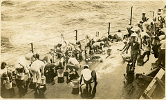 Sailors Scrubbing Their Clothes on Board the USS Wyoming